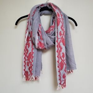 J. McLaughlin gray red bird motif fringe scarf